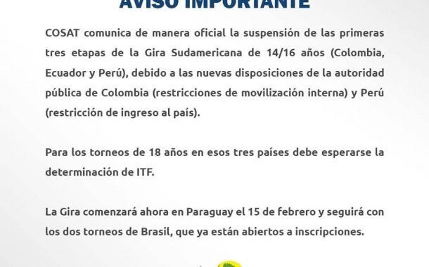 Cosat suspende los 3 primeros torneos de la gira 2021