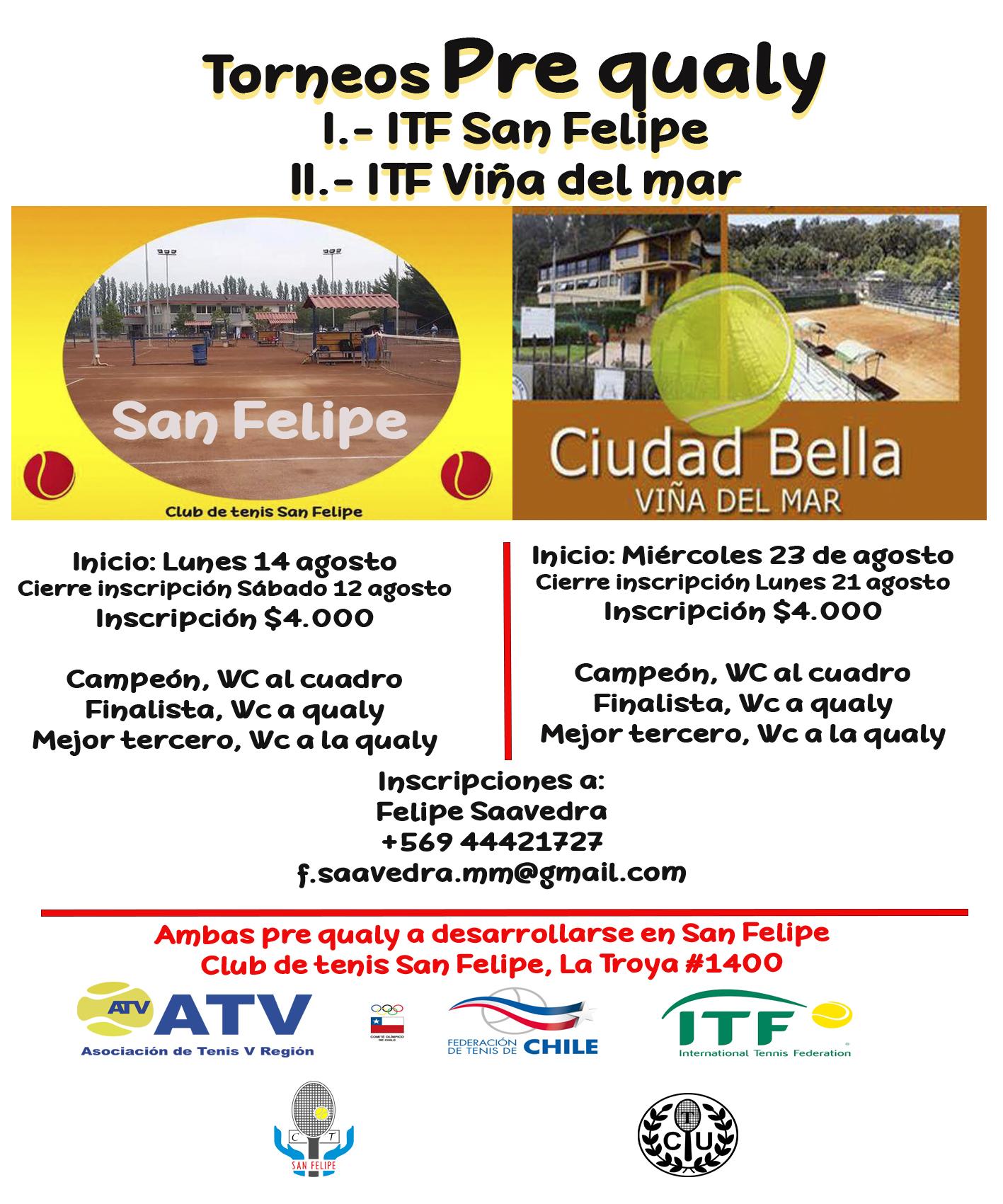 ¡Los Torneos ITF de la Quinta Región tendrán Prequalys!