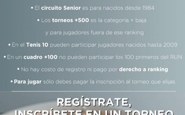 Inscríbete en los torneos de tenis